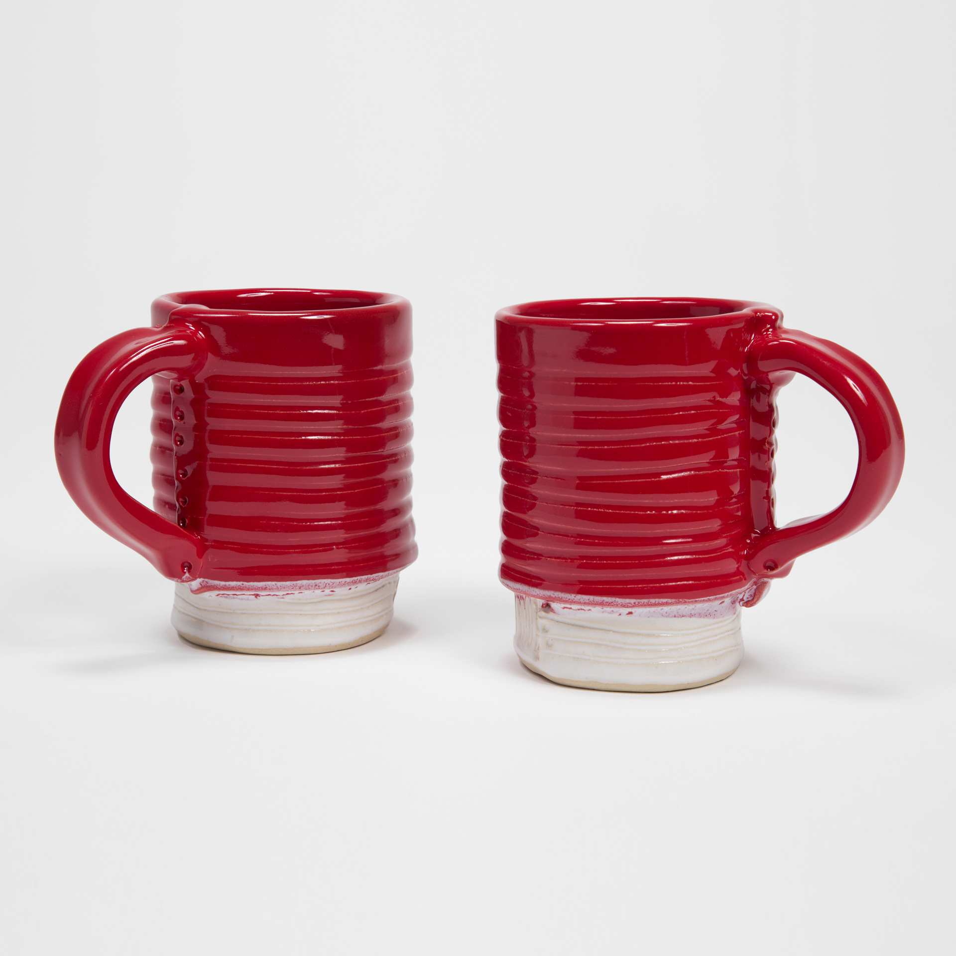 Red/White Mugs with Carved Base