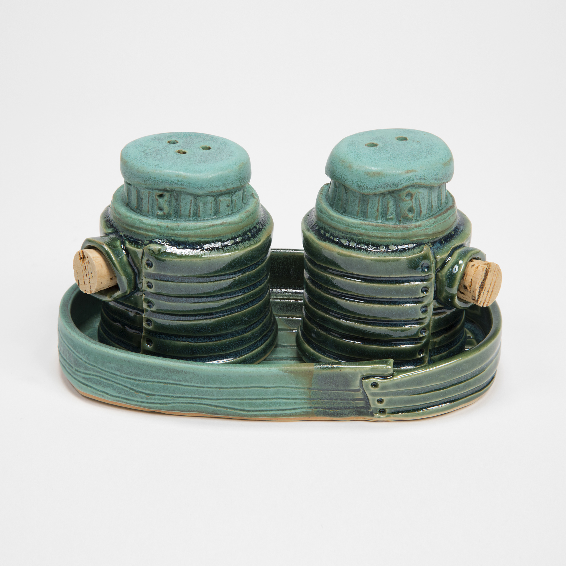 Multigreen Salt & Pepper Shakers with Tray