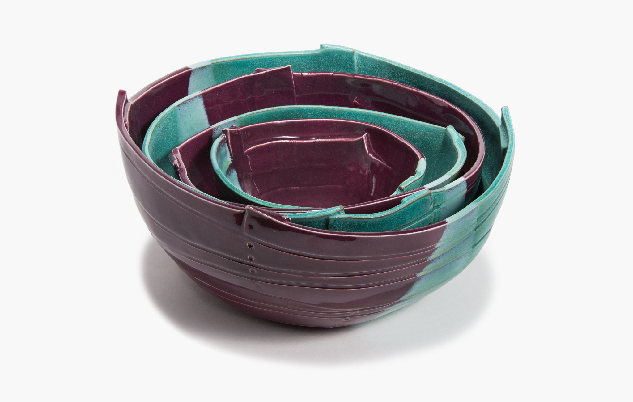 Nesting Bowls in Teal and Plum