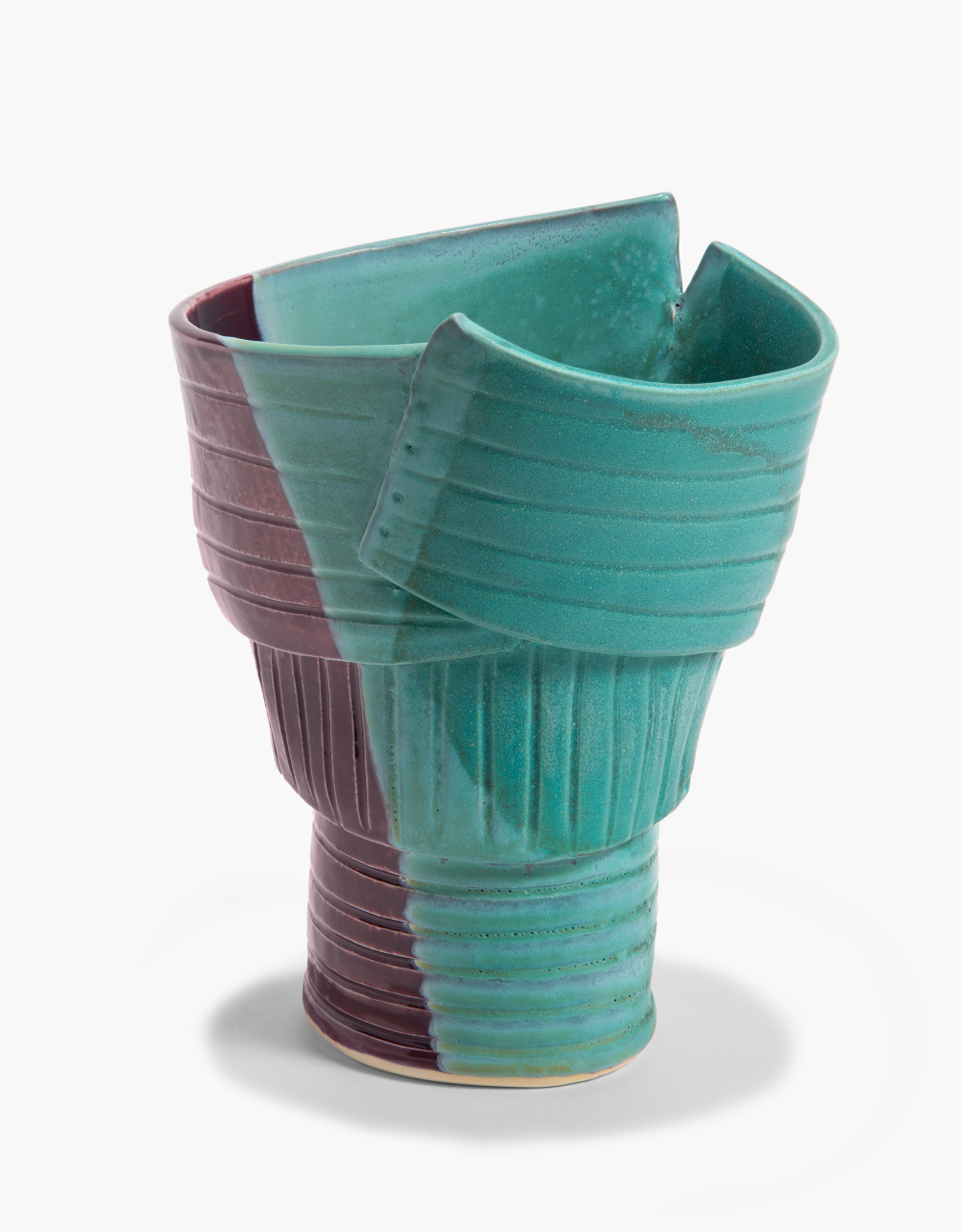 """17"""" Vessel in Teal and Plum"""