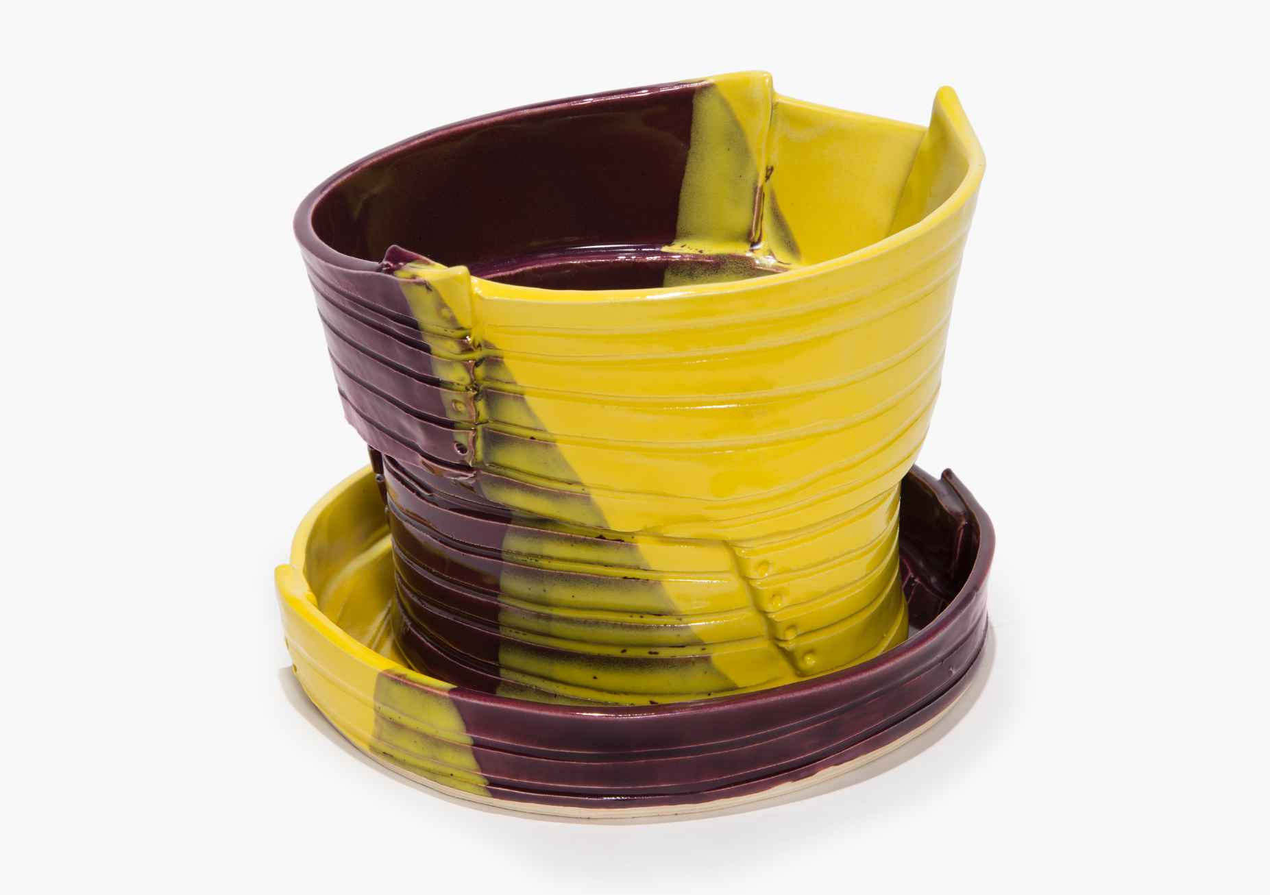 Plant Pot with Drainage Holes and Detachable Tray in Yellow and Plum