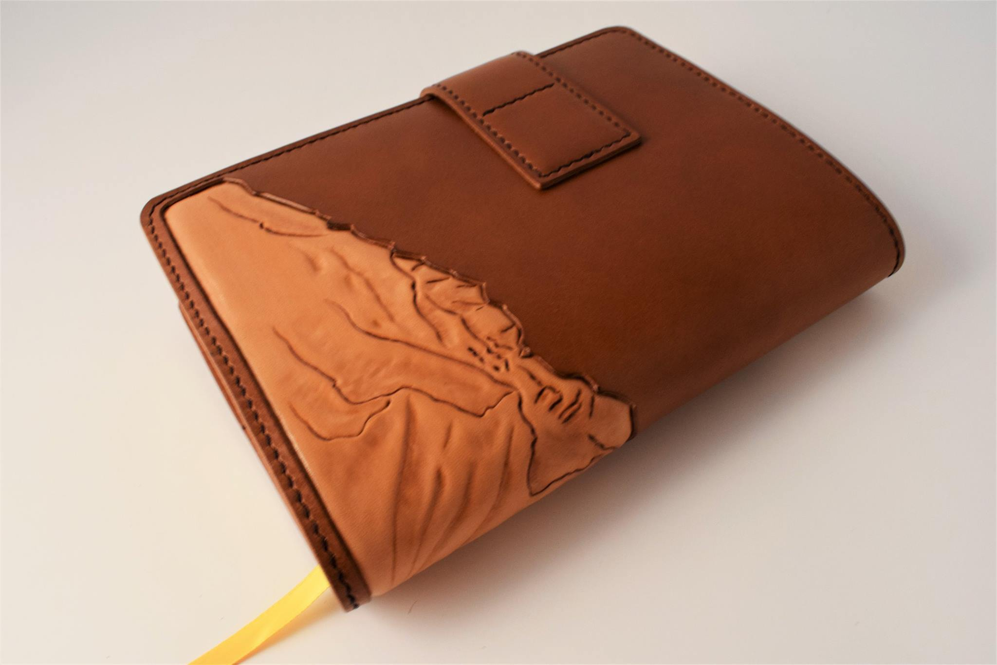 Custom Refillable Journal Cover with Mountainscape Inlay