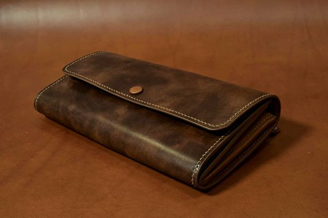 Finished completely handmade women's wallet.  #handmade #fullgrain #Italianleather #frenchleather #barenia #design #gift #finished #endresult #pursuitofperfection