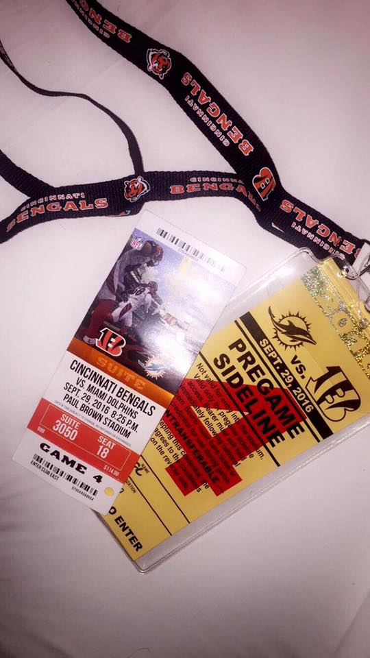 My first sideline passes at said NFL game.