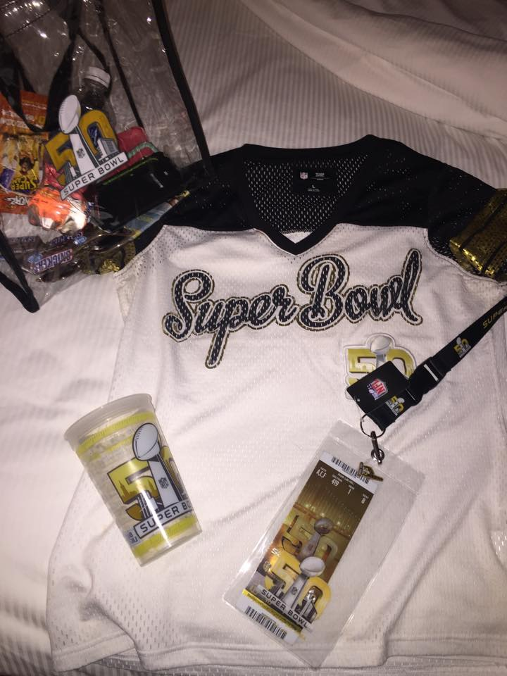All of the fan gear I purchased for my first Super Bowl game... I unapologetically fan girled out!