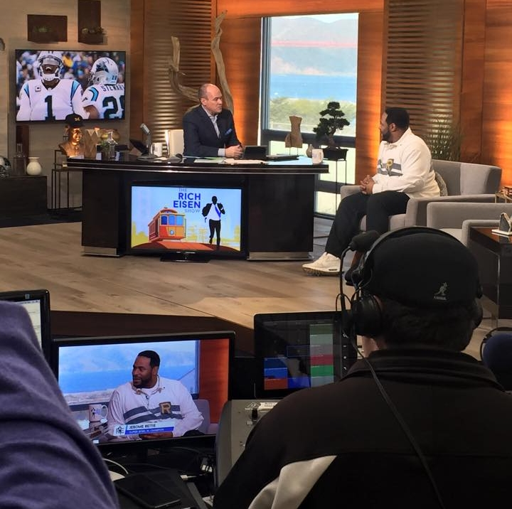 One of Jerome Bettis' media interviews I scheduled at Super Bowl 50 on the Rich Eisen Show.