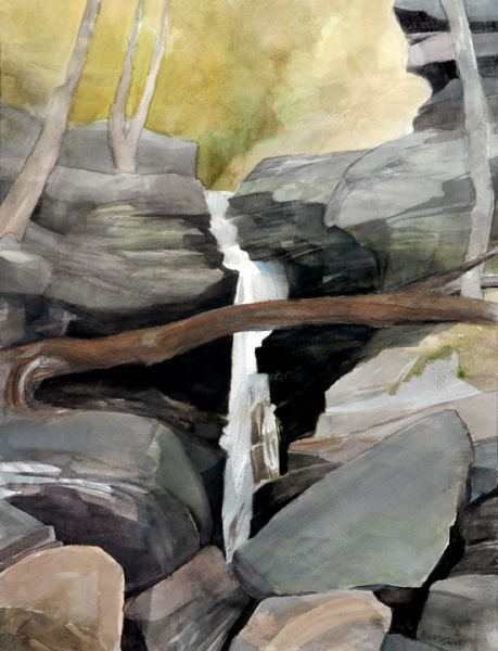 Ravine with log jammed into Rocks   16 x 12, watercolor, gouache