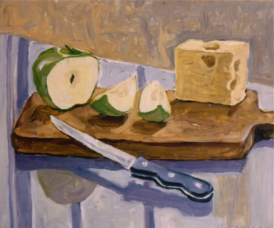 "Apple & Cheese   14 x 16"", oil on linen"