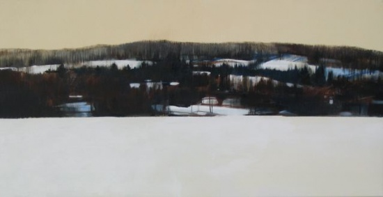 Across the Lake, acrylic on canvas, 20 x 40 SOLD