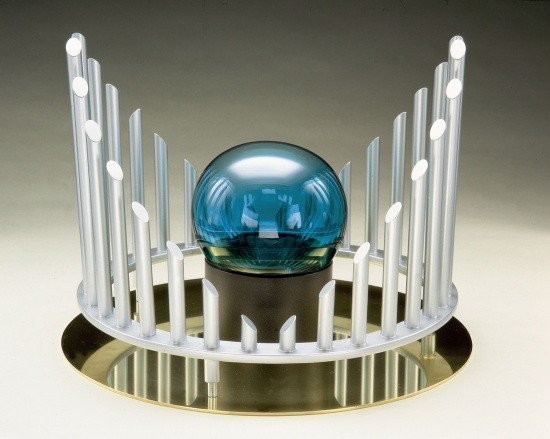 "Fountainhead  14""x18""x18"", Mat.: Steel, glass and brass"