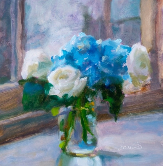 """French Blue   8 1/4 x 8 1/4"""", oil on canvas"""