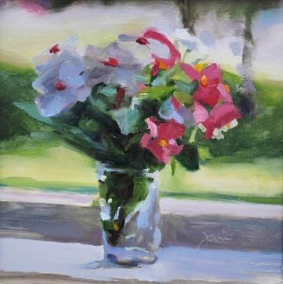 "August Bouquet   8 x 8"", oil on canvas"
