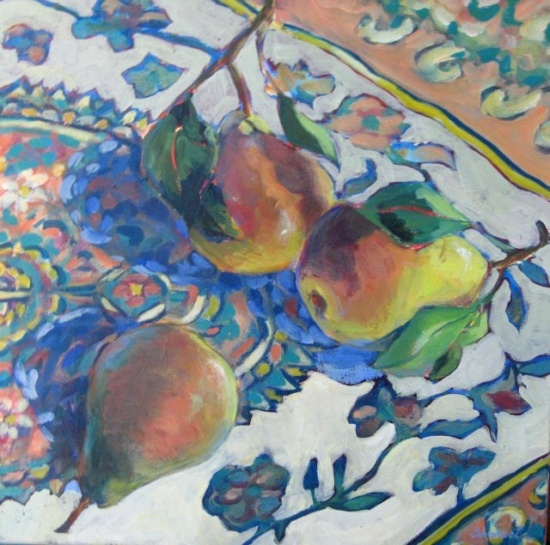 "Three Pears   12 x 12"", acrylic on canvas"