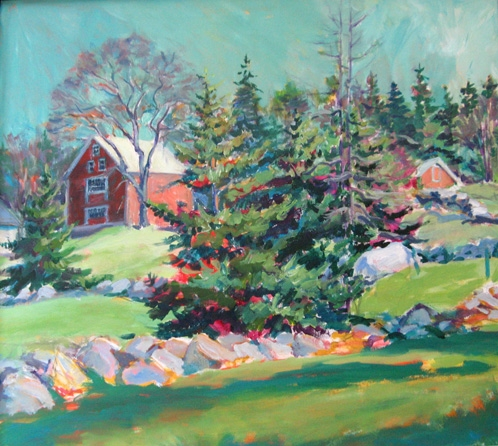 """Sheep Farm   24 x 24"""", acrylic on canvas"""