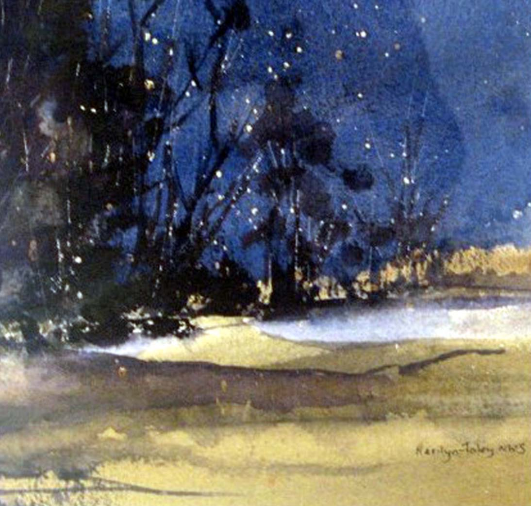 "Starry Night   22.5"" x.22.5"", watercolor"