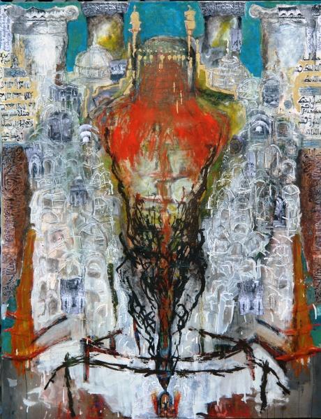 Torso 3: Conjurer    4' x 6'oils, acrylics, pencil, wax, montage on canvas, 2007