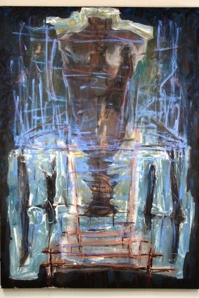 "Blue Torso   52"" x 72""acrylics, charcoal, oil on canvas"