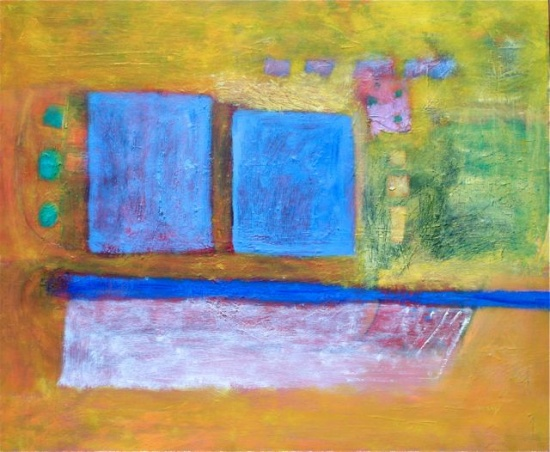 "Blue Squares   30 x 36"", oil on canvas"