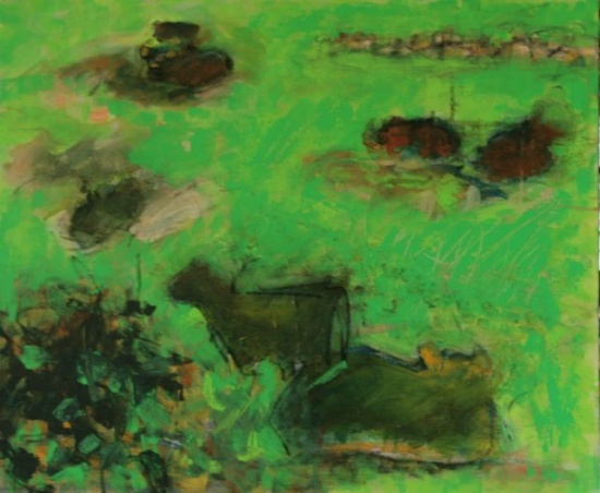 "Pocantico Cows   20 x 24"", acrylic on canvas"