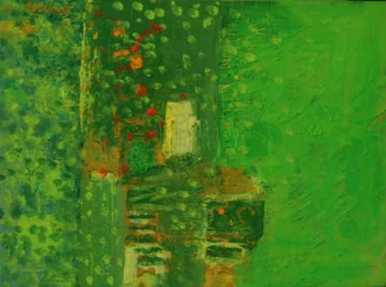 "Small Green Abstract   12 x 9"", oil on canvas"