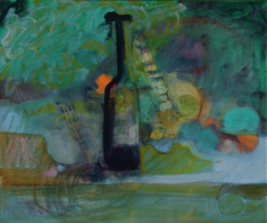 "Purple Bottle and Guitar   20 x 24"", oil on canvas"
