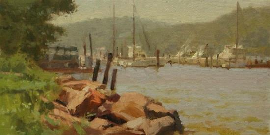 """RiverRocks   8 x 16""""  oil on canvas"""