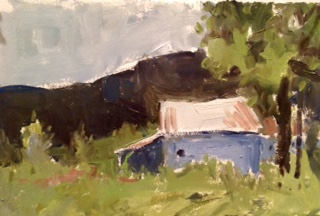 Weidner's Farm   7.5. x 11, oil on paper.