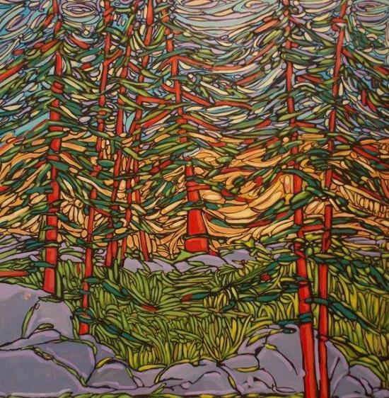 "Hemlock Forest   5"" 48 x 48, acrylic on canvas."