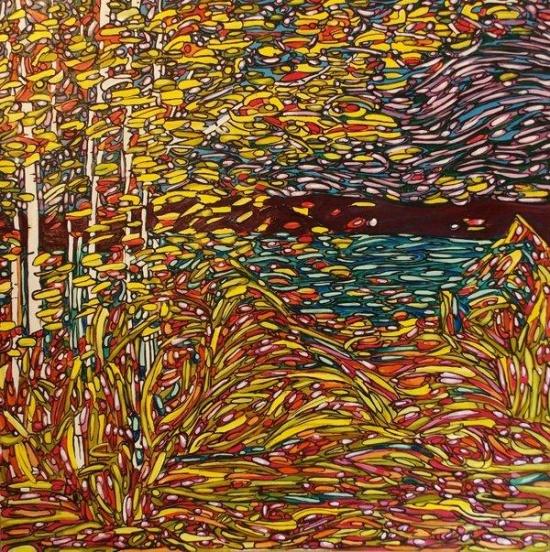 "Hemlock Forest   4"" 45 x 45, acrylic on canvas."