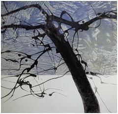 "Winter Apple Tree 1  Sugar Lift Aquatint, Carborundum print  14"" x 13 1/2"""