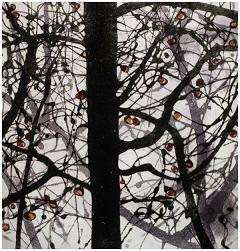 "Winter Apple Tree 3 Sugar Lift Aquatint, Carborundum print  14"" x 13 1/2"""