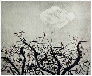 "Winter Apple Tree 4 Sugar Lift Aquatint, Carborundum print  14"" x 13 1/2"""