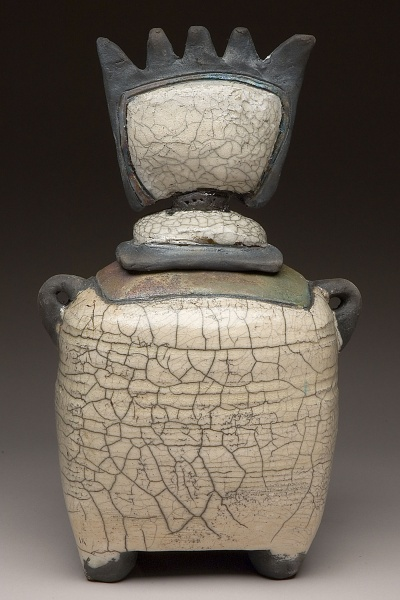 "Raku vessel with rattle  10""h, 6 1/2"" w, 4""d"