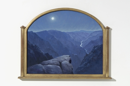 "Gunnison in Moonlight  26"" x 34""   oil on canvas, dome frame"
