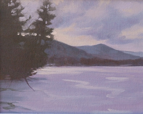 Deep Cold, Cooper's Lake   8 x 10, oil on canvas, 2006