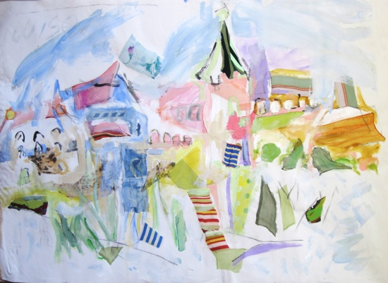 Mediterranean Village   39 x 63, collage and acrylic on canvas