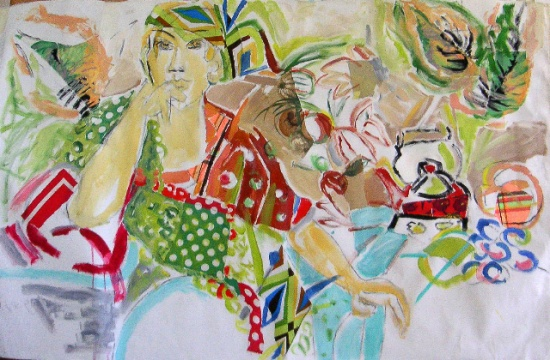 Cooking   38 x 60, collage and acrylic on canvas.