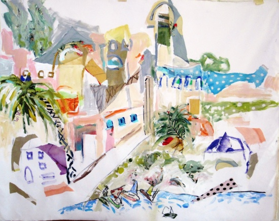 Mediterranean Landscape   39 x 56, collage and acrylic on canvas