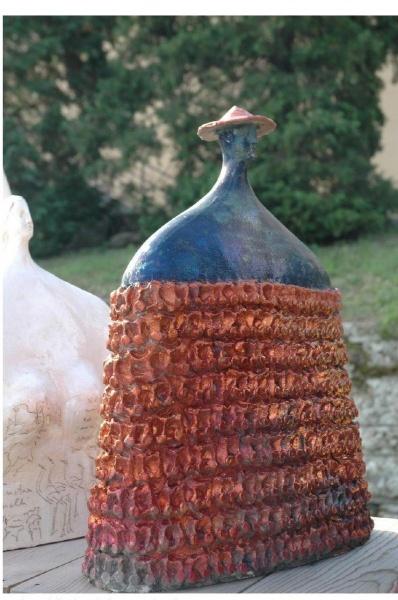 "Big Warrior Bust    24"" x 7.5"" x 20""   ceramic sculpture, SOLD"