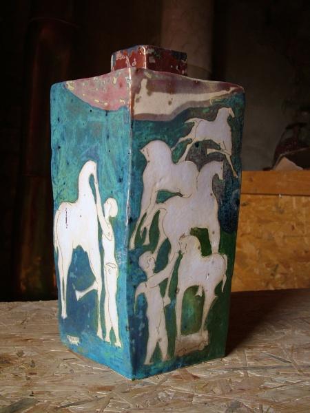 """Aqua Square Ceramic Vase   10 x 10 x 13""""h SOLD"""