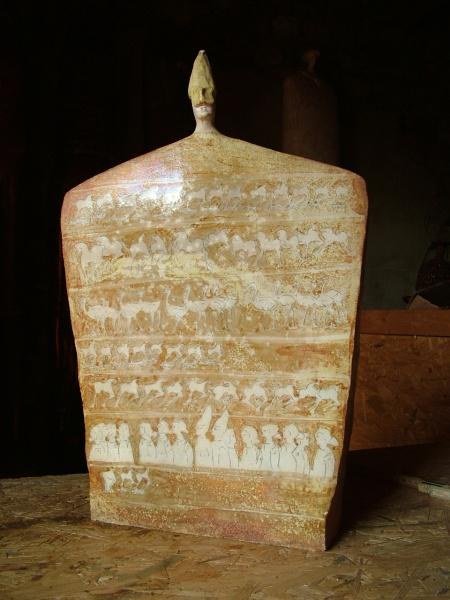 """Pulcinella head on golden stele   14"""" x 5 x 23"""" h SOLD"""