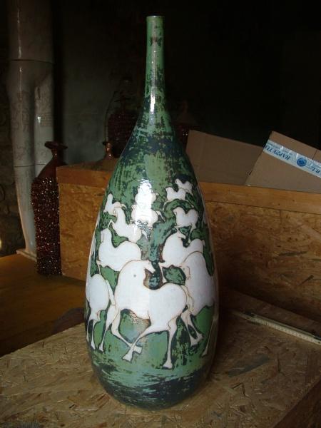 """Green Ceramic Vessel   10 x 10 x 29"""" SOLD"""