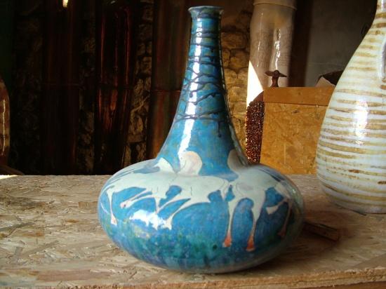 """Aqua Ceramic Vase with long neck   13 x 11 x 13""""h SOLD"""
