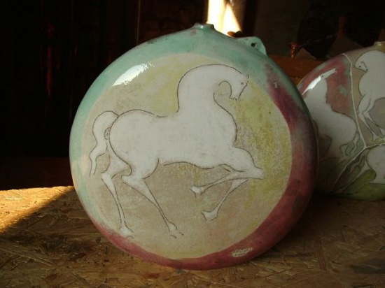 """Flask I,  ceramic, 13""""w x 3""""d x 13""""h, two sided images."""