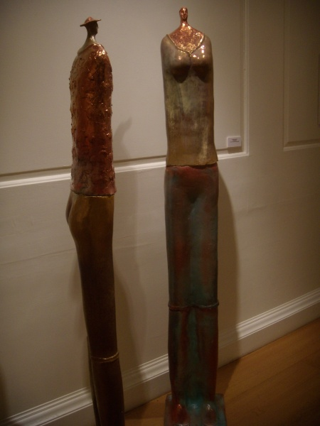2 Tall figures   5ft 9 in, female and warrior, ceramic