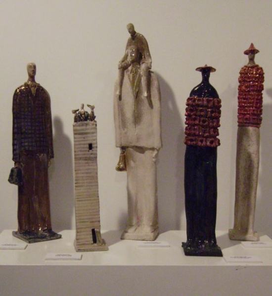 Traveler, Tower, Father and Child, 2 warriors,  ceramic