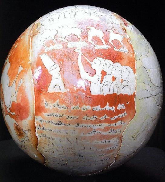 """Red Sphere   12"""" ceramic"""