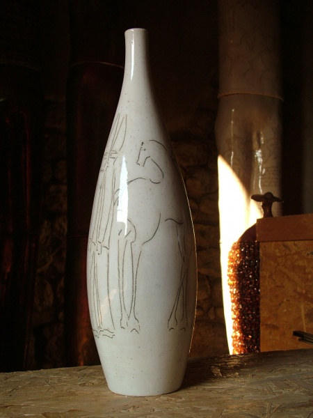 "White Vase   18"" h x 5 x 5"", ceramic"