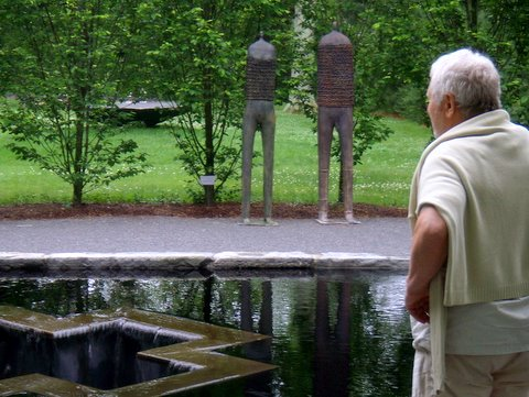 Paolo Staccioli, viewing his two bronze %22Warriors%22 at LongHouse Reserve, East Hampton 2008-09.jpg