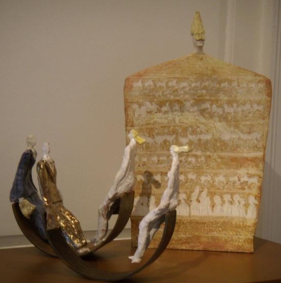 Paolo Staccioli, Stele with Pucinella head.jpg